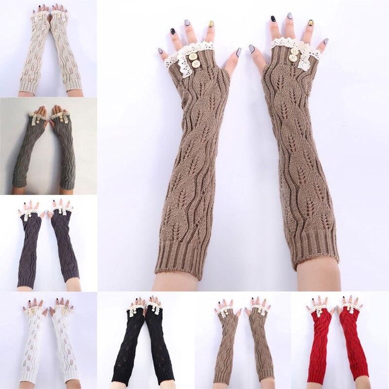 [해외]1pair Fashion Ladies Winter Arm Warmer Fingerless Gloves Lace Button Knitted Long Warm Gloves Mittens For Women  FEA889/1pair Fashion La
