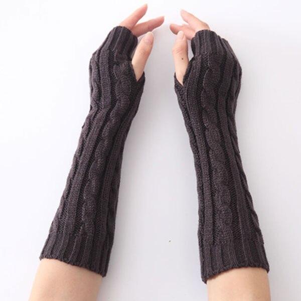[해외]1pair Long Braid Cable Knit Fingerless Gloves Women Handmade Fashion Soft Gauntlet Practical Casual Gloves FEA889/1pair Long Braid Cable