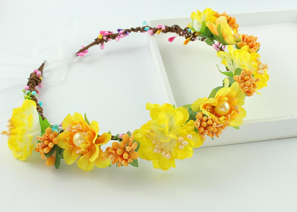 [해외]수제 노란색 패브릭 꽃 크라운 헤드 밴드 신부 헤어 꽃 파티 여자 여자 헤어 액세서리 Tiaras Fabric Flower Crowns/Handmade yellow Fabric Flower Crowns Headband Bridal Hair Flower Party