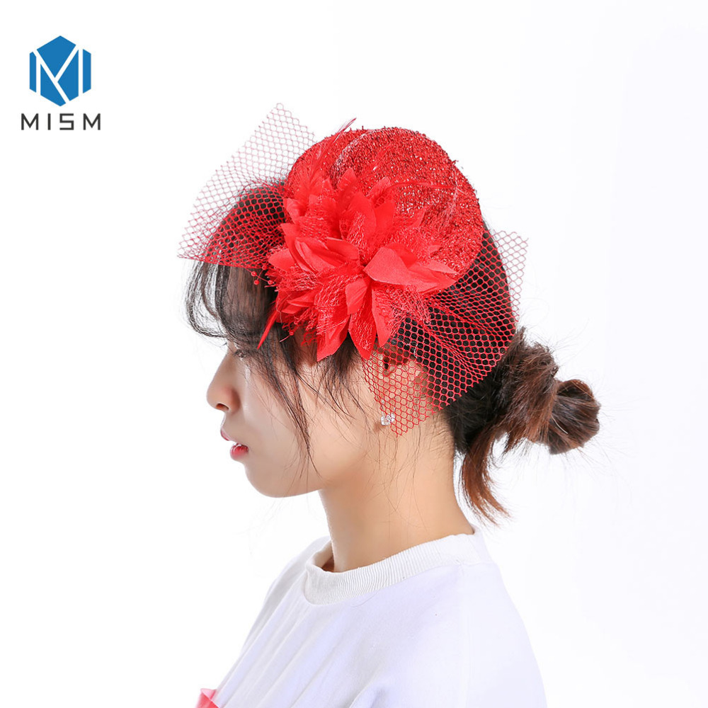 [해외]M MISM 빈티지 헤어 클립 여성용 헤어 액세서리 미니 탑 햇 비녀 플라워 메쉬 깃털 꽃 우아한 여성 파티 클럽/M MISM Vintage Hair Clip For Women Hair Accessories Mini Top Hat Hairpins Flower M