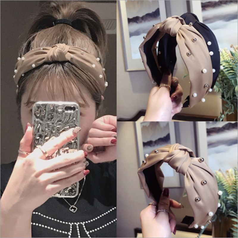 [해외]High-end hair accessories women`s satin fabric beaded middle knotted wide-brimmed headband headband fashion hair band headwear/High-end hair acces