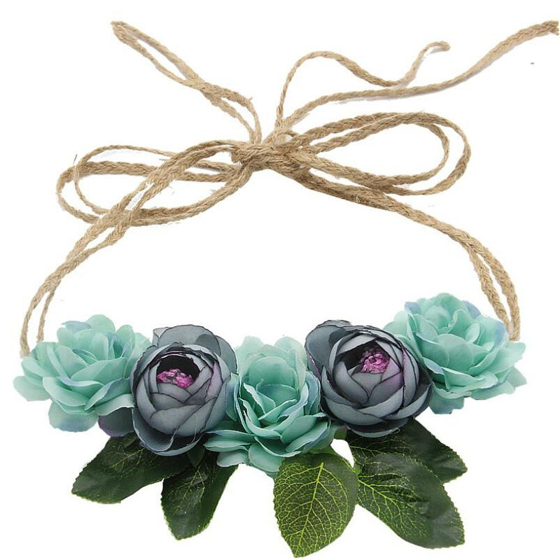 [해외]1pcs/lot Bohemia Women Wedding Headdress Twine Camellia BudLeaves Hairbands Cloth Hair Accessories For Hat Decoration/1pcs/lot Bohemia Women Weddi