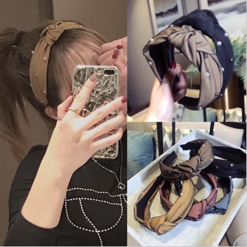[해외]Fashion boutique hair accessories mesh double bead knotted headband wide-brimmed headband wild girl hair band headwear for women/Fashion boutique