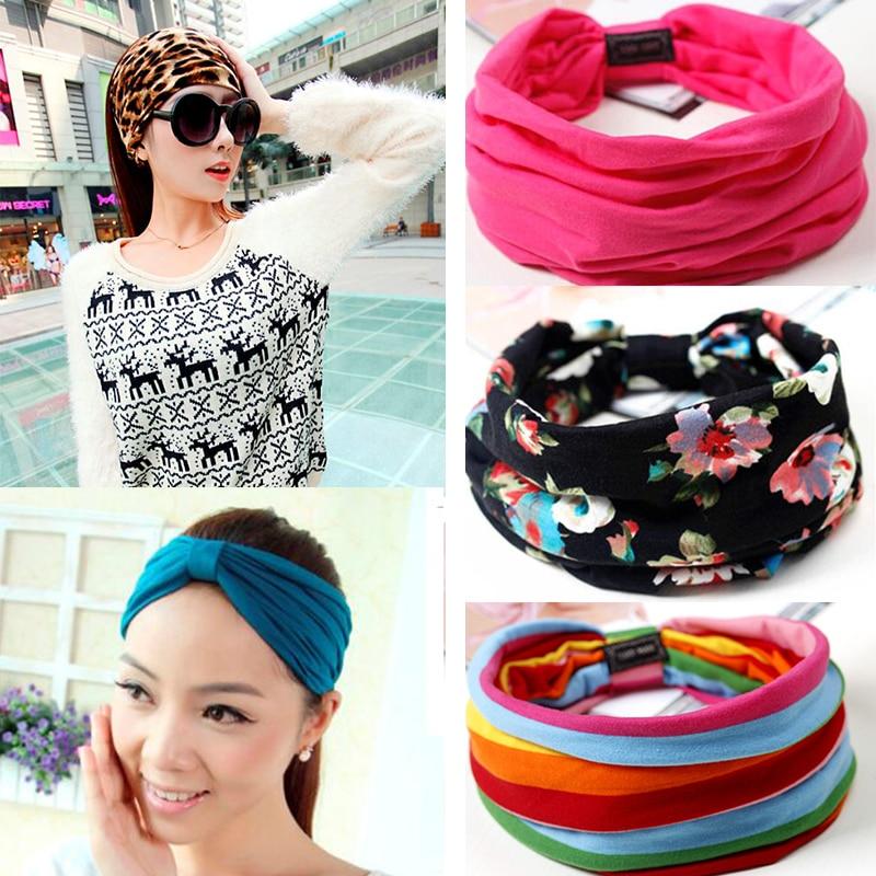 [해외]Floral Print Turban Knot Headwrap Sports Elastic yoga Hairband Fashion Cotton Fabric Wide headband For Women Hair accessoires/Floral Print Turban