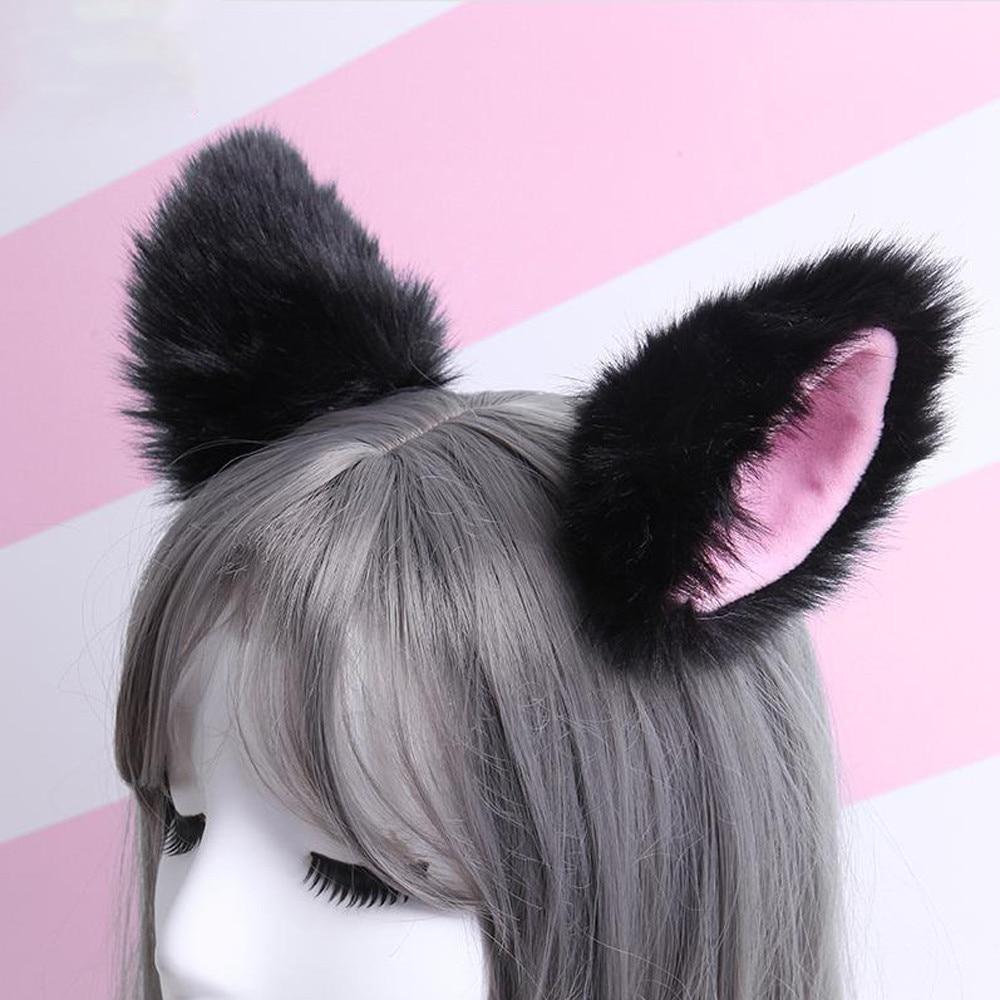[해외]cute Women Headbands Fox Ear Headband Hair Clip Plush Cat Ears Hair Clip Lady Girl Style Novelty Headbands For Woman feminina A8/cute Women Headba