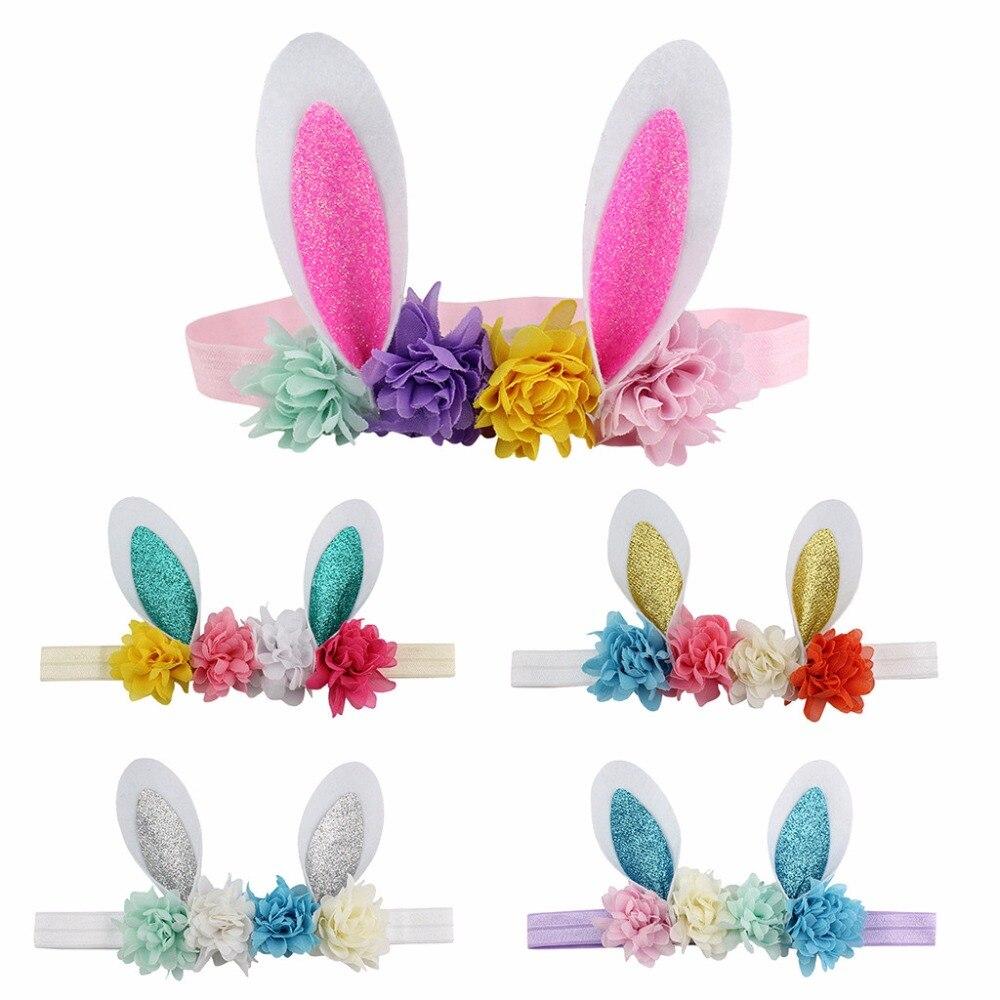 [해외]Easter Babies Headband Flower Rabbit Ears Hair Band Easter Sunday Multicolor 2019 Headwear 3.8/Easter Babies Headband Flower Rabbit Ears Hair Band