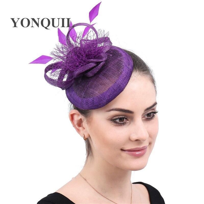 [해외]Purple Linen Fascinators Hairpins Wedding veils Hat Women Ornaments Headpiece Bridal royal Fascinator Accessories 2019 New style/Purple Linen Fasc