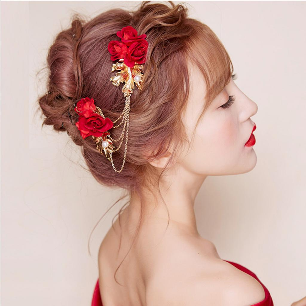 [해외]Women Ladies Pearl Hairpiece Flower Crystal Hair Clips Comb Wedding Jewelry/Women Ladies Pearl Hairpiece Flower Crystal Hair Clips Comb