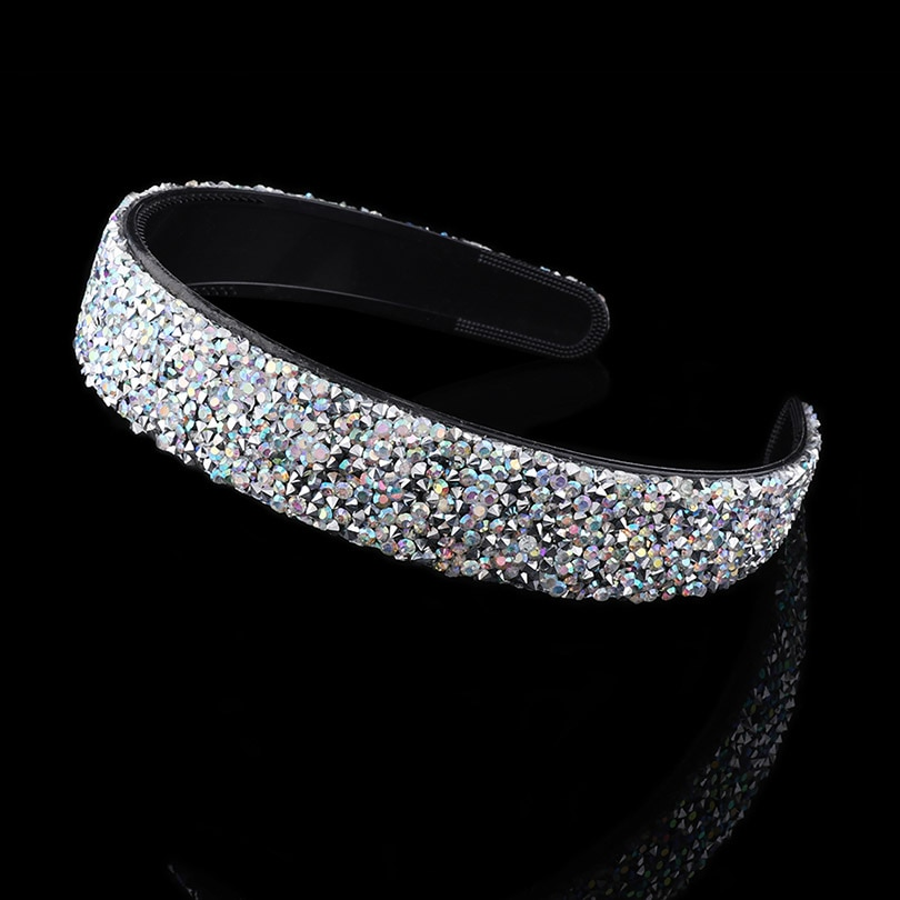 [해외]Haimeikang 2019 New Luxury Shiny Rhinestone hairband For Women Girls Hair Accessories Wide Hair Hoop Band Headband 4 Color/Haimeikang 20
