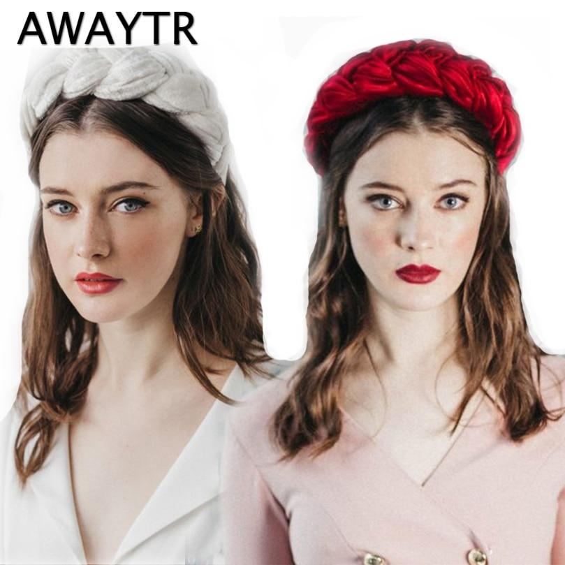 [해외]Awaytr 2019 여성을위한 새로운 벨벳 헤어 밴드 숙녀 머리띠 솔리드 컬러 브레이드 헤어 루프 레트로 헤드웨어 여성 헤어 액세서리