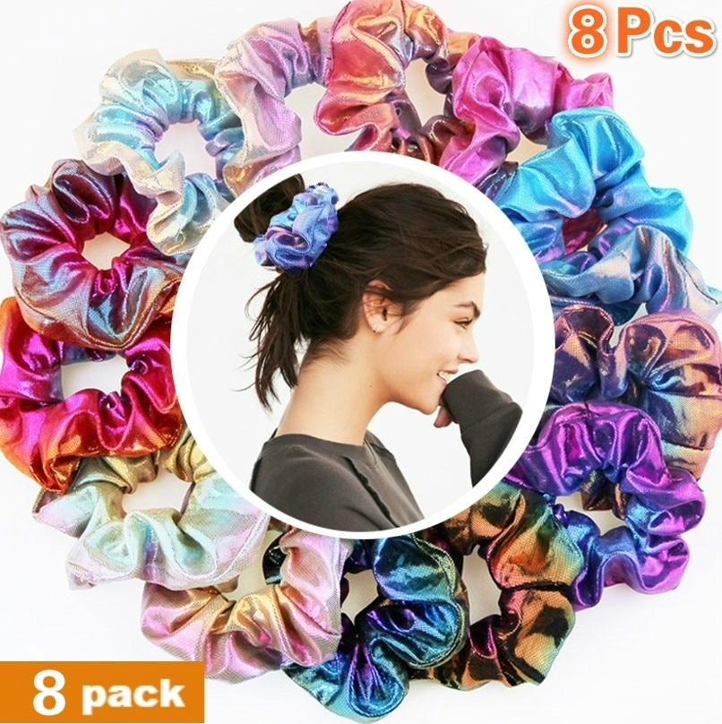 [해외]8 Pieces Glitter Scrunchies Colorful ElasticHair Rope Ponytail Holder Hair Accessories for Girls and Women/8 Pieces Glitter Scrunchies C