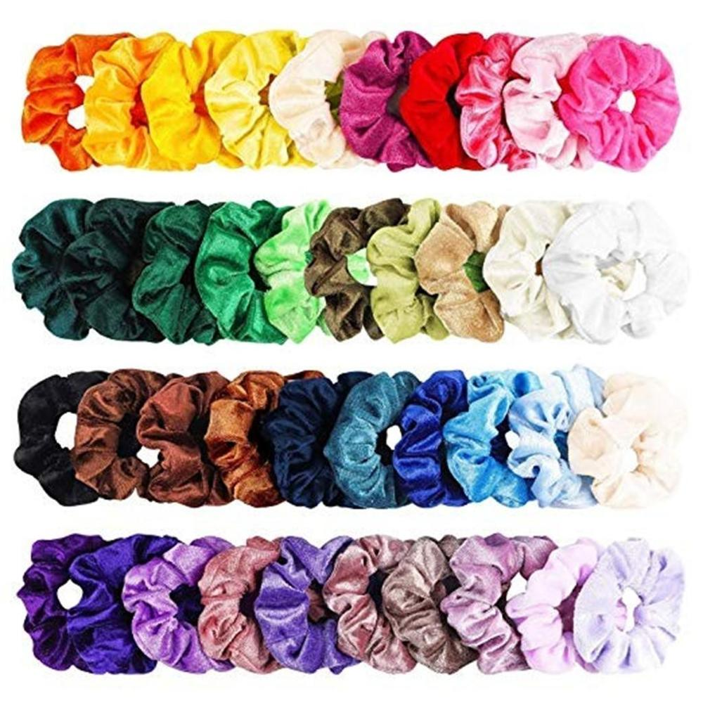 [해외]40 Pcs Vintage Hair Scrunchies Stretchy Velvet Scrunchie Pack Women Elastic Hair Bands Girl Headwear Plain Rubber Hair Ties /40 Pcs Vint