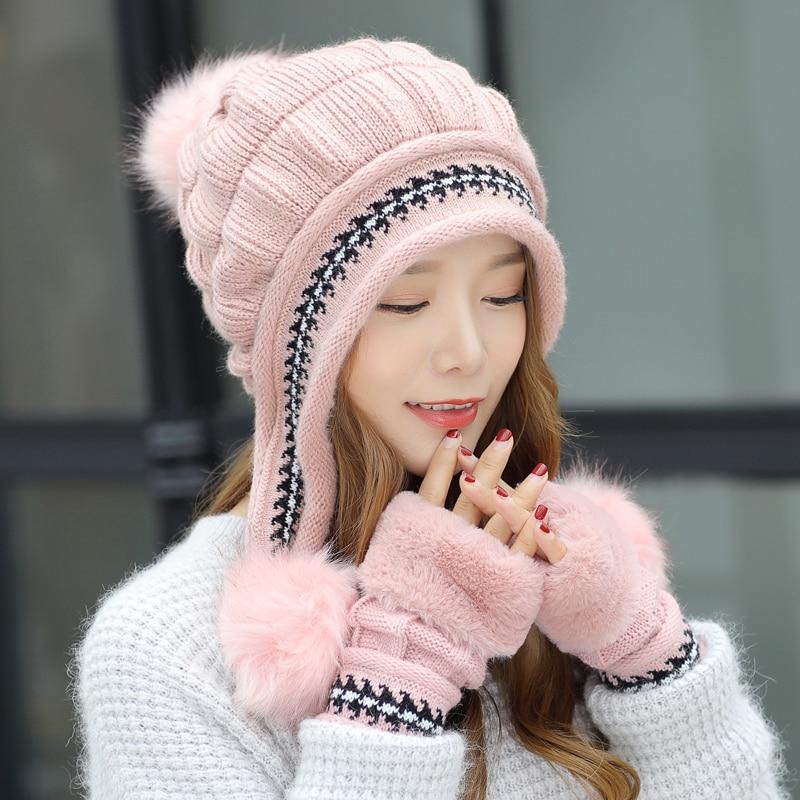 [해외]1 세트 숙녀 니트 겨울 장갑 비니 모자 세트 플러시 따뜻한 Slouchy Beanies Pompom 해골 스키 모자 핑거리스 장갑 모자 Gorro/1 Set Ladies Knitted Winter Gloves Beanie Hat Set Plush Warm Sl