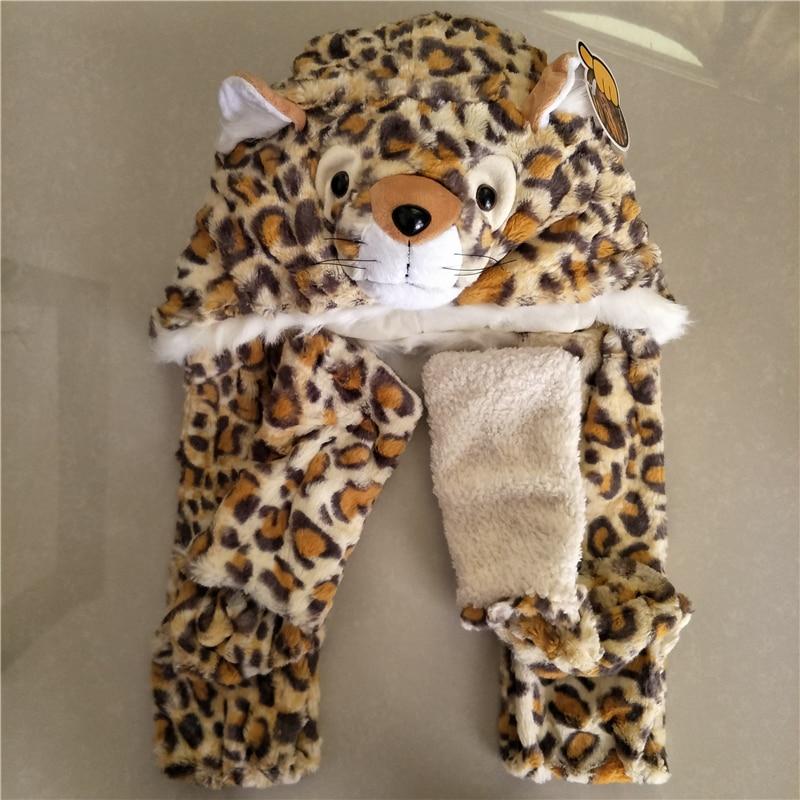 [해외]귀여운 따뜻한 겨울 가짜 동물 모피 모자 푹신한 봉제 모자 두트 후드 동물 스카프 숄 장갑 레오파드 고양이 모자 모자 스카프 세트/Cute Warm Winter Faux Animal Fur Hat Fluffy Plush Cap Dint Hood Animal Sc