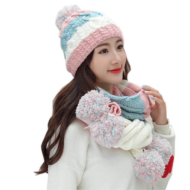 [해외]여성 모자 2018 가을 / 겨울 패션 브랜드 모자 스카프 뜨개질 두 조각 여성 Gorros 캐주얼 캡 스카프 Chapeu Feminino Bone/Women Hats 2018 Autumn And Winter Fashion Brand Hats Scarf Knit