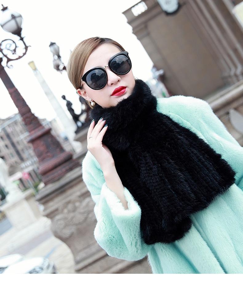 [해외]Natural Real mink fur  knitted fur scarf autumn and winter male women`s general luxury thickening fish tail/Natural Real mink fur  knitted fur sca