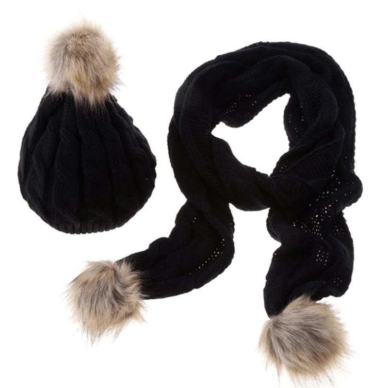 [해외]Hat and Scarf Set Women Winter Warm Thicken Knitted Beanie and Scarf Faux Fur Fashion Wool Hat Scarf 5 color Apparel Accessories/Hat and Scarf Set