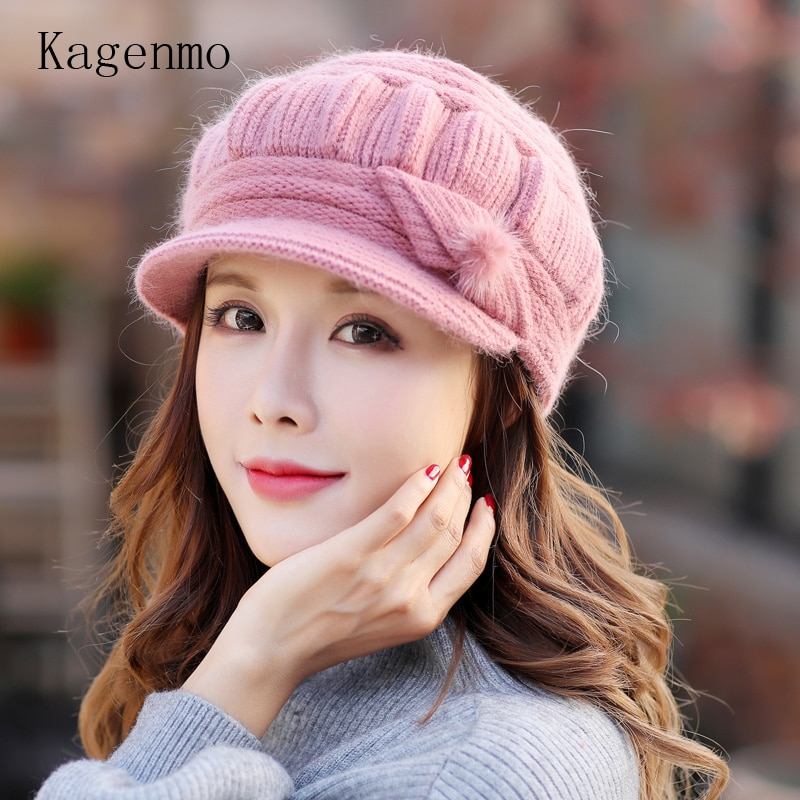[해외]Kagenmo Cap And Scarf Twinset Warm Winter Keep Warm Accessories Rabbit Fur Knit Women Hat Outdoor Windproof Thermal Scarf/Kagenmo Cap And Scarf Tw