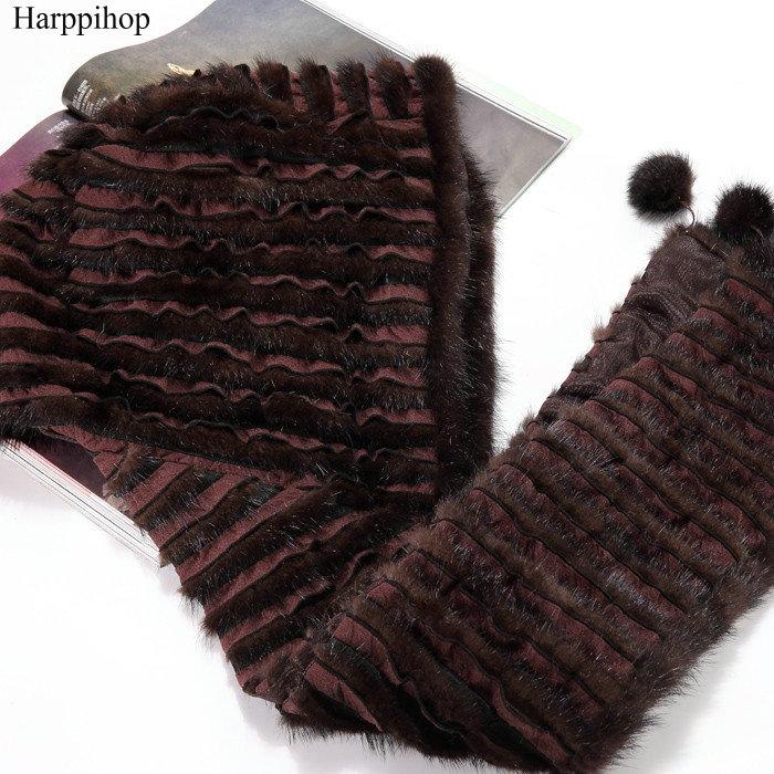 [해외] New Geniune  Real Mink Fur Hat Luxury Women Scarves Winter Handmade Knitted Natural Mink Fur Hat Scarf Female/ New Geniune  Real Mink Fur Hat Lux