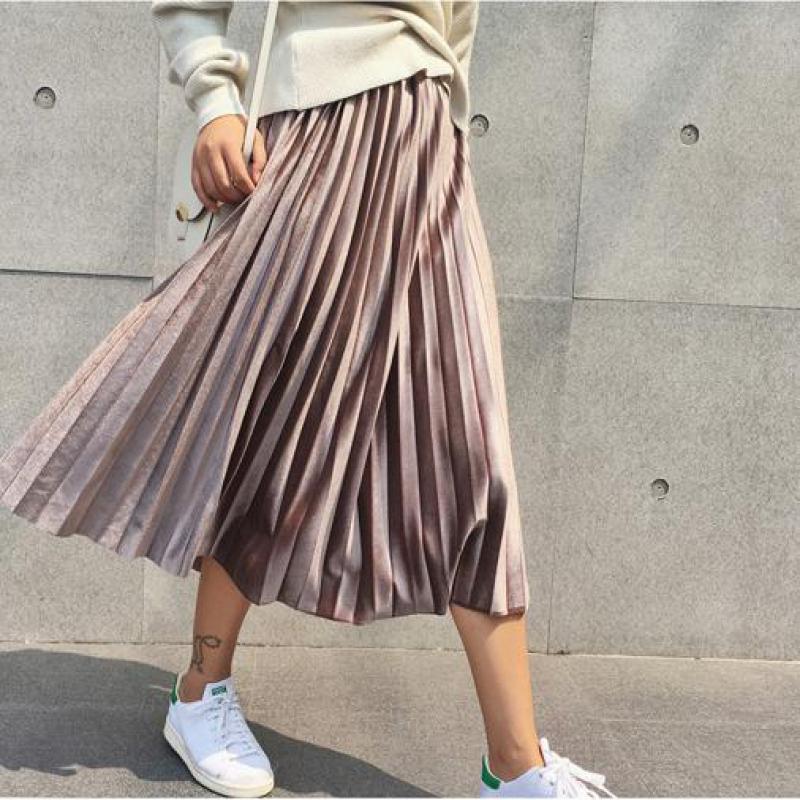 [해외]2019 New Spring Autumn Winter High Waisted Skinny Female Velvet Skirt Pleated Skirts Pleated Skirt /2019 New Spring Autumn Winter High Waisted Ski