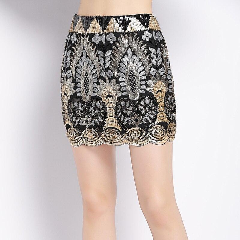 [해외]Vintage 1920s Embroidered Floral Beaded Sequin Skirt Elastic Waist Short Saia Lapis Luxurious Women Mini Party Pencil Skirt /Vintage 1920s Embroid