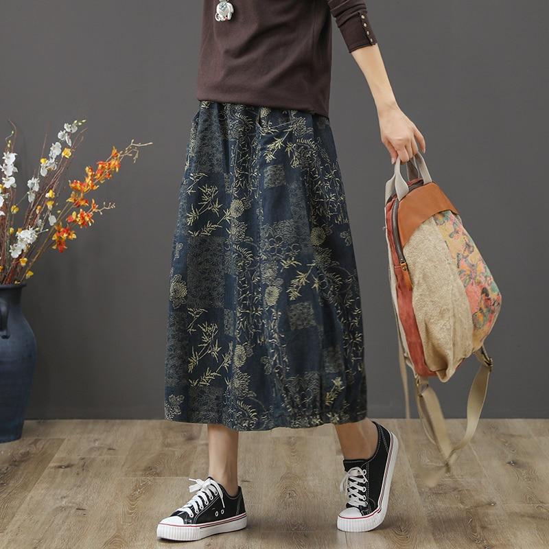 [해외]Vintage literary print floral denim A-Line skirt saia mori girl 2018  new/Vintage literary print floral denim A-Line skirt saia mori girl 2018  ne