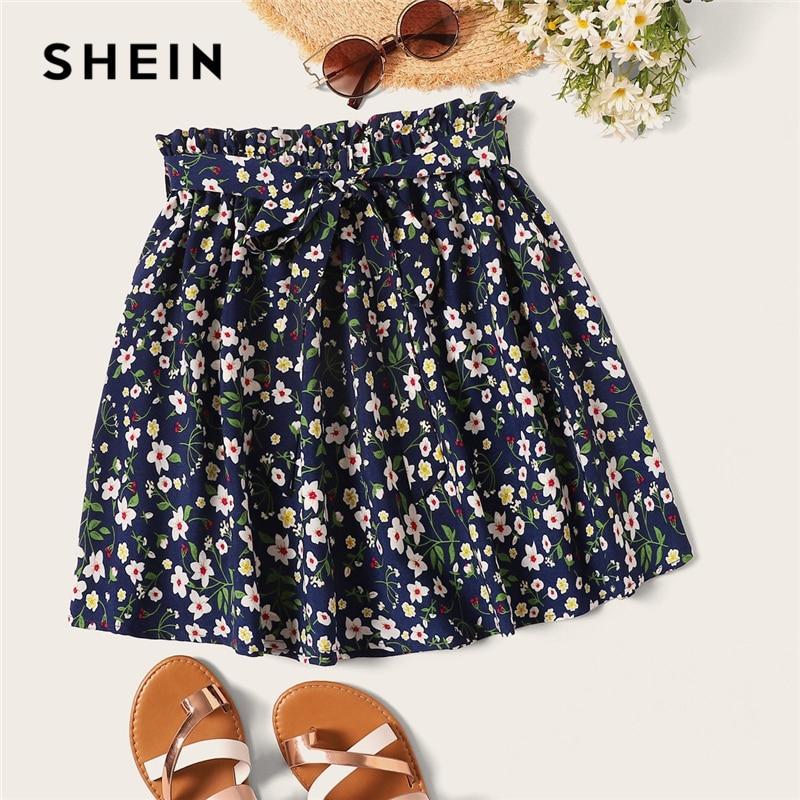 [해외]SHEIN Boho Navy Ditsy Floral Print Paperbag Waist Belted Flared Skirts Womens Summer 2019 Casual Frilled Pleated Mini Skirt/SHEIN Boho Navy Ditsy