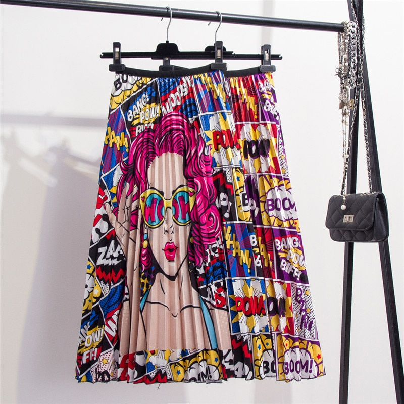[해외]2019 New Fashion High Waist Pleated Skirt Women Spring Summer Midi Skirts Womens Elastic Waist A Line Long Skirts For Women Rok/2019 New Fashion H
