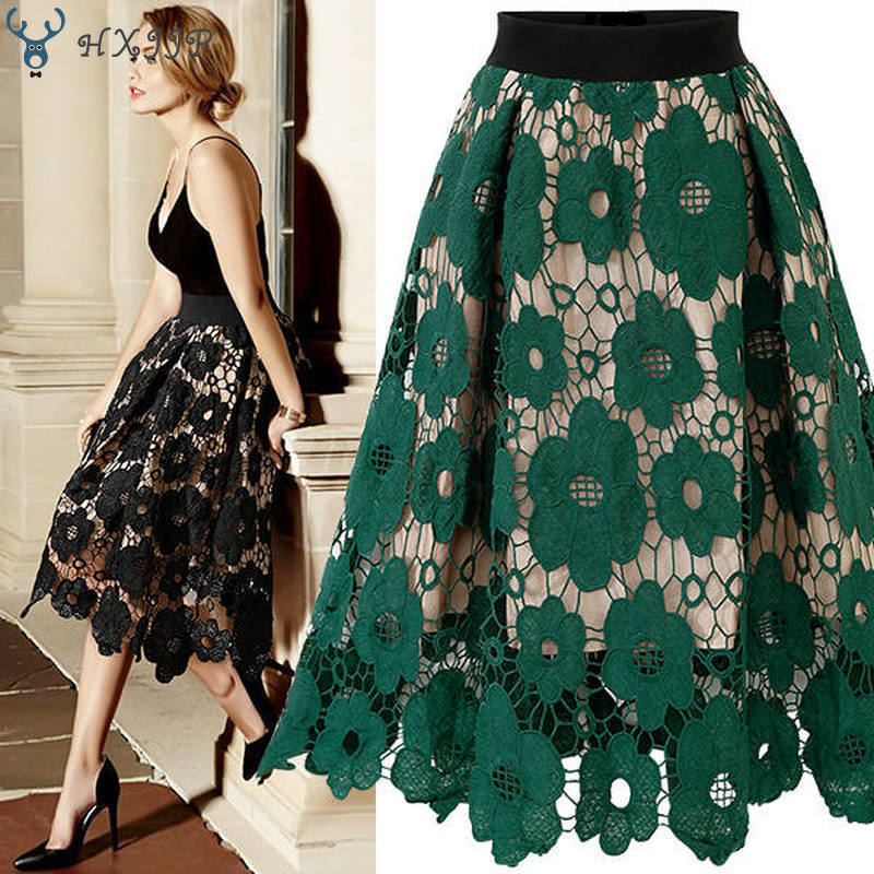 [해외]HXJJP Spring Summer Gauze Peng Peng Skirt Casual  Print  Knee-Length  A-Line Fashion Women`s Embroidery Lace Skirt Party Skirt/HXJJP Spring Summer