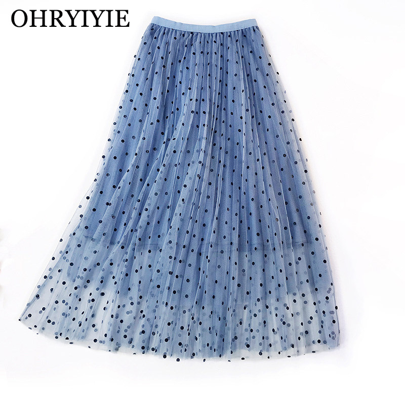 bc41daff47 [해외]OHRYIYIE High Waist Dot Tulle Skirts Women 2019 Spring Summer Elastic  Waist Sun