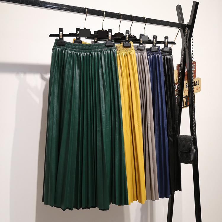 [해외]2019 Hot New Arrival Elegant Faux Leather Skirt Women High Waist Pu Pleated Skirt Mid-calf Ladies Skirts /2019 Hot New Arrival Elegant Faux Leathe
