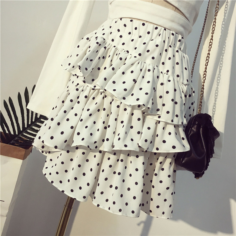 [해외]2019 Hot Summer New Arrival Black Skirt Chic Irregular Skirt High Waist Lotus Leaf Side Ruffles Dot Mini Skirt clothes/2019 Hot Summer New Arrival