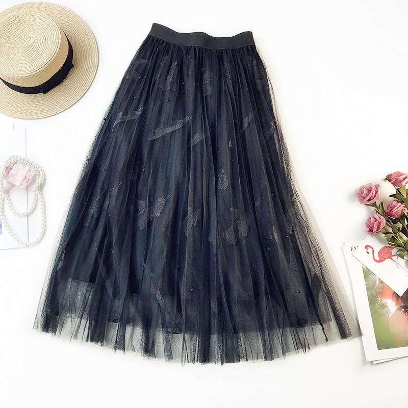 [해외]2019 Spring New Arrival Sweet Feather Embroidery Beaded High Waist A-line Tulle Skirt Fairy Pleated Skirt Women clothes/2019 Spring New Arrival Sw