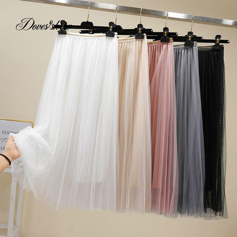 [해외]Pleated Tulle Skirts Womens Black Gray White Adult Tulle Skirt Elastic High Waist Midi Skirts/Pleated Tulle Skirts Womens Black Gray White Adult T