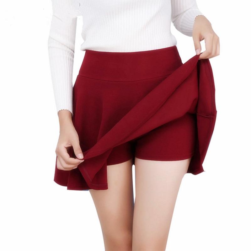 [해외]Danjeaner M-5XL 10 색 여성용 하이 웨스트 플리츠 스커트 바지 2018 summer super elastic 미니 스커트 faldas mujer saias/Danjeaner M-5XL 10 색 여성용 하이 웨스트 플리츠 스커트 바