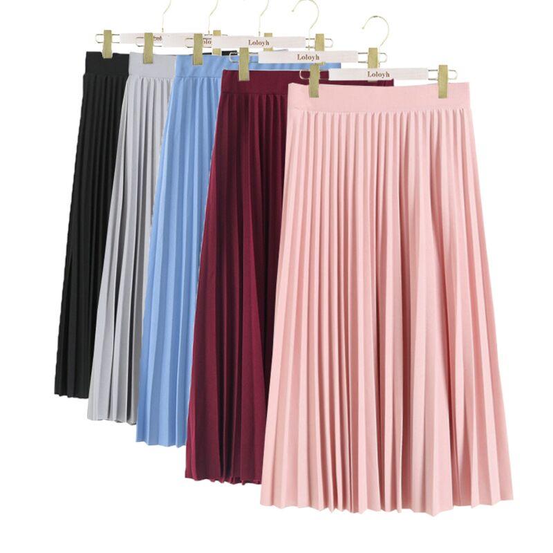 [해외]여성 패션 높은 허리 pleated 솔리드 컬러 mid-calf lengt 스커트 모든 일치 시폰 의류 레이디 캐주얼 stretchy thicken skirts/여성 패션 높은 허리 pleated 솔리드 컬러 mid-calf lengt 스커트