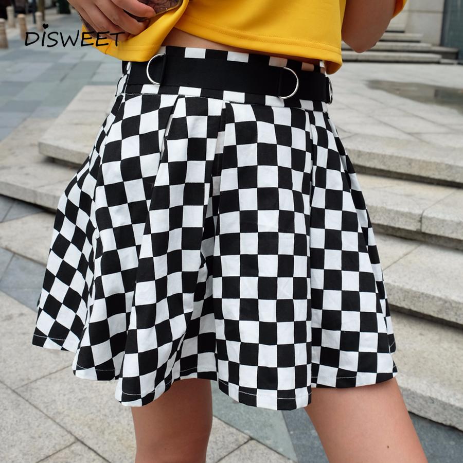 [해외]Disweet Pleated Plaid Skirts Womens 하이 웨이스트 체크 무늬 스커트 하라주쿠 댄스 한국 스타일 스웨트 쇼트 미니 스커트 여성/Disweet Pleated Plaid Skirts Womens 하이 웨이스트 체크 무늬