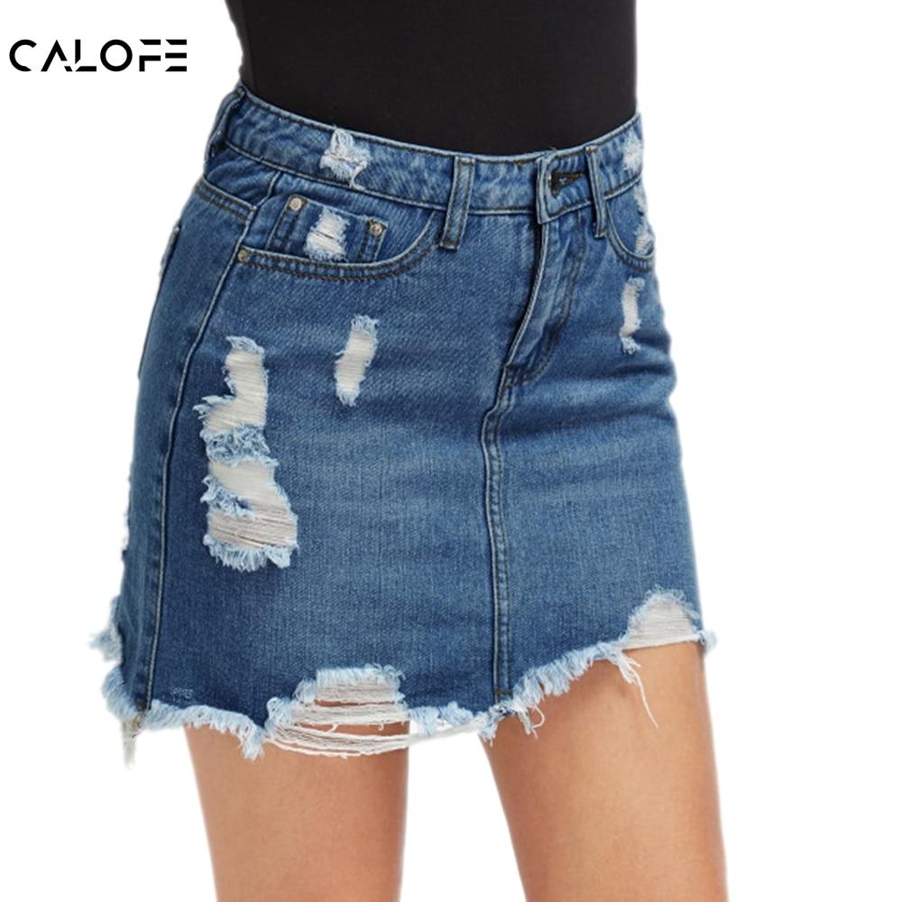 [해외]Calofe 여성 블루 립 캐주얼 미니 데님 스커트 2019 summer new bodycon 여성 스커트 기본 포켓 청바지 스커트 mid waist skirt/Calofe 여성 블루 립 캐주얼 미니 데님 스커트 2019 summer new b