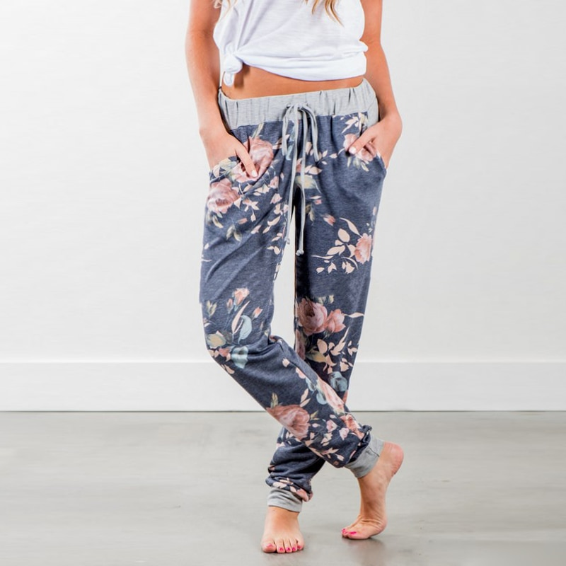 [해외]boho 여름 2018 캐주얼 롱 바지 여성 Loose Floral 프린트 레이스 업 하이 웨이스트 바지 여성용 바지 여성용 pantalon femme/boho Summer 2018 casual long pants Women Loose Floral Printed