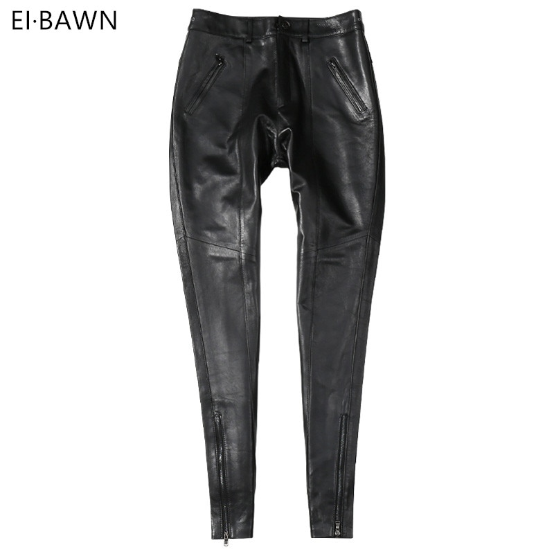 [해외]Genuine Leather Pants Women High Waist Black Pants Ladies Sheepskin Autumn Winter Plus Size Streetwear Skinny Leather Pants 2019/Genuine Leather P