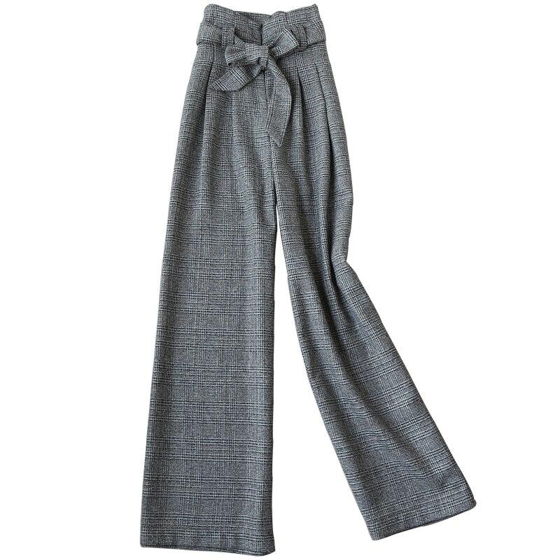 [해외]New Women Woolen plaid straight Wide Leg Pants high waist  fashion Loose pants Ladies/New Women Woolen plaid straight Wide Leg Pants high waist  f