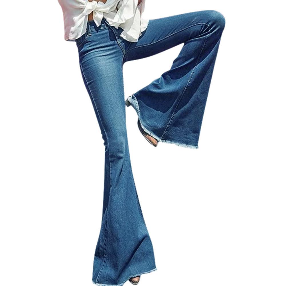 [해외]JAYCOSIN Daily Hight Waisted Wide Leg Denim Jeans Women Stretch Slim Pants F Length Jeans Button Fly Casual Full Length Pants/JAYCOSIN D