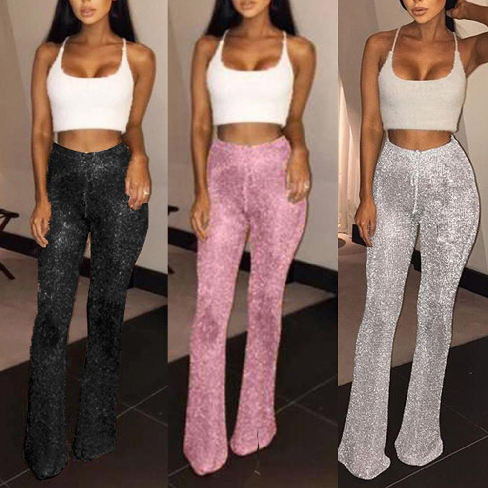 [해외]Fashion Womens Flared Glitter Sequins Leggings Solid High Waist Bell Bottom Pants Disco Trouser Lady Drawstring Pants/Fashion Womens Fla
