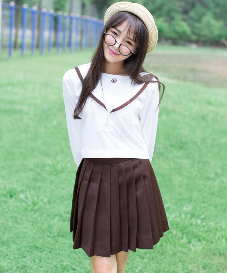 [해외]2 색 일본 전통 긴팔 선원 유니폼 화이트 칼라 일본 고교 제복 코스프레 섹시한 귀여운 소녀/2 Color Japanese Classical  Long-sleeved Sailor Uniforms White Collar Japan High School Unifor
