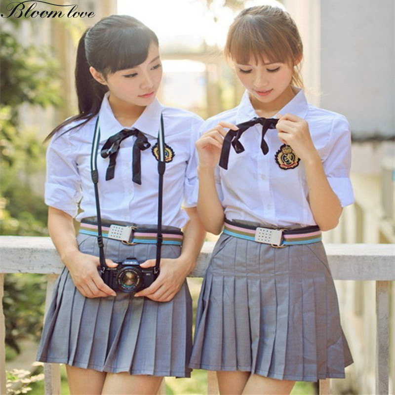 [해외]블룸 러브 스쿨 유니폼 반팔 셔츠 + 플리츠 스커트 + 벨트 Japanese Korean Uniform X01/Bloom Love  School Uniform Short Sleeved Shirt+Pleated Skirt+Belt Japanese Korean Un