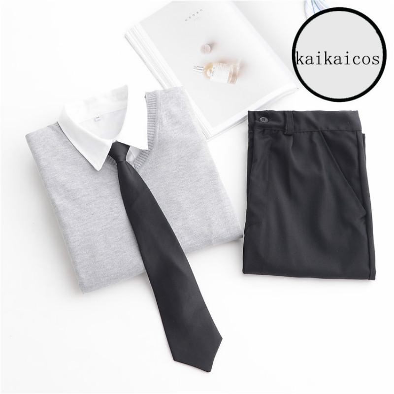 [해외]일본 하라주쿠 고등학교 회색 유니폼 세트 셔츠 + 바지 + 남성용 유니폼 스웨터 New S / M / L / XL / XXL/Japanese Harajuku High School Grey Uniforms Set Shirt+Pants+Sweater For Mens