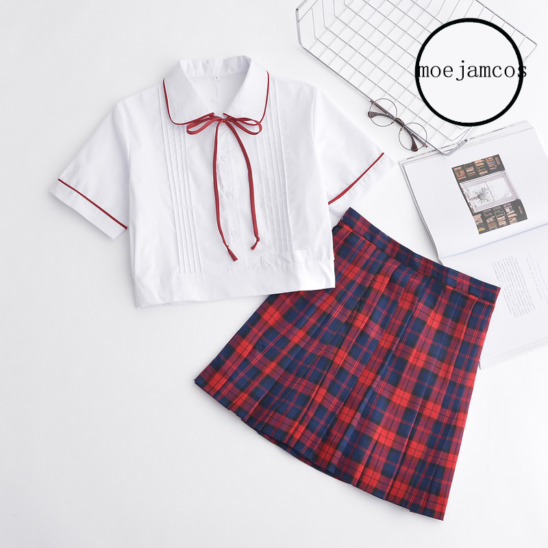 [해외]일본 하라주쿠 JK 스쿨 걸즈 & 유니폼 탑 + Pleated 레드 스커트 풀 유니폼 세트 New S / M / L / XL/Japanese Harajuku JK School Girls& Uniform Top+Pleated Red Skirt Full Un