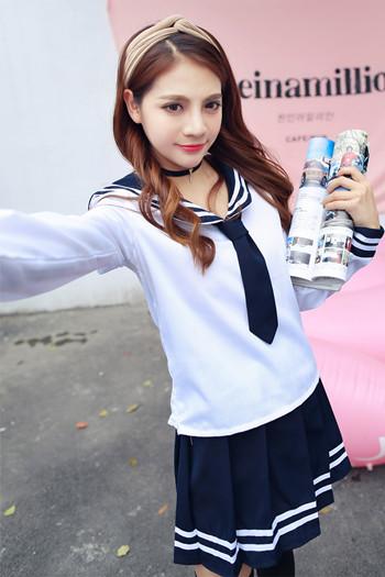 [해외]일본 학교 유니폼 애니메이션 메이드 스커트 선원 유니폼 로리타 드레스 일본 소녀 영국 해군 스타일 학교 의상/Japan School Uniform Anime Maid Skirt Sailor Uniform Lolita Dress Japan Girl British
