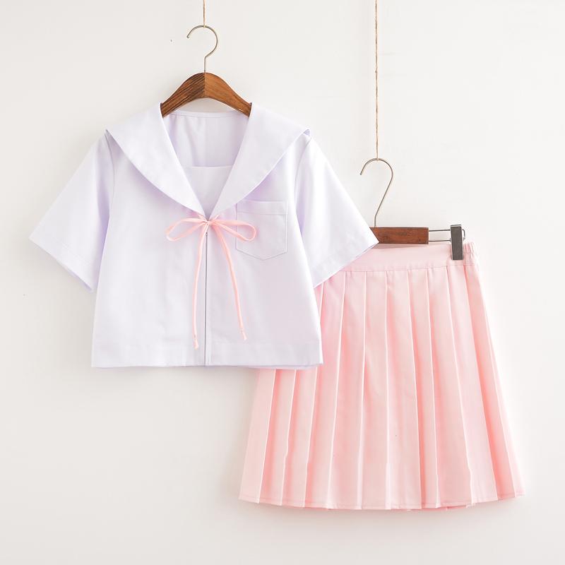 [해외]한국 스쿨 유니폼 걸스 일본 JK 핑크 루스 세일러 정장 여성용 반팔 탑 스커트 New S / M / L / XL / XXL/Korean School Uniform Girls Japanese JK Pink Loose Sailor Suit For Women Sho