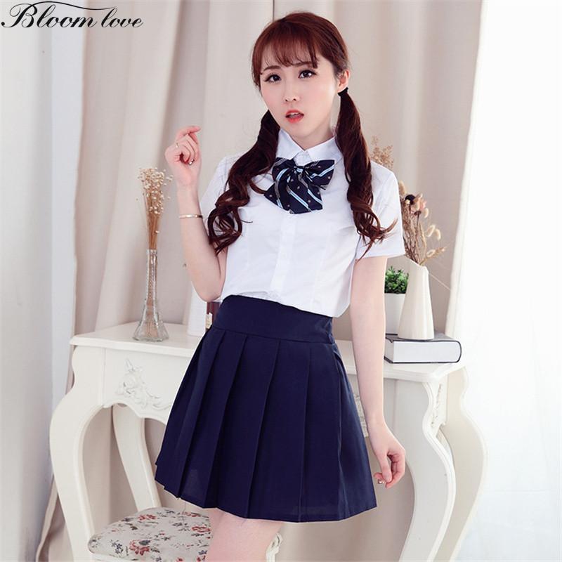 [해외]C26 학생복 유니폼 반팔 티셔츠 블랙 스커트 야회복 공식 유니폼 스쿨/C26  Student Uniforms Short Sleeve White Shirt Black SkirtBowknot Formal Uniform School